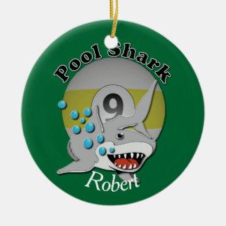 Ornement Rond En Céramique Requin de piscine de neuf boules avec le nom
