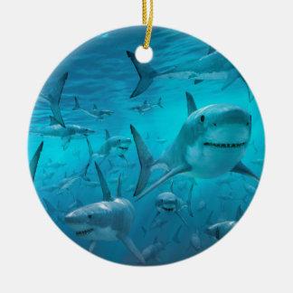 Ornement Rond En Céramique Requins