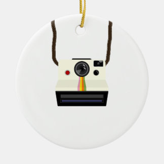 Ornement Rond En Céramique rétro appareil-photo avec la courroie