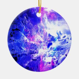 Ornement Rond En Céramique Rêves de nuit de Noël d'améthyste