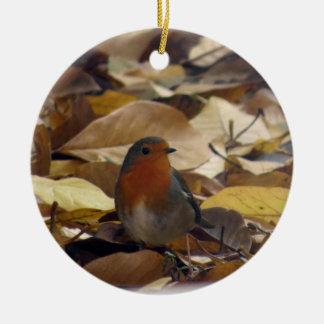 Ornement Rond En Céramique Robin dans le feuille
