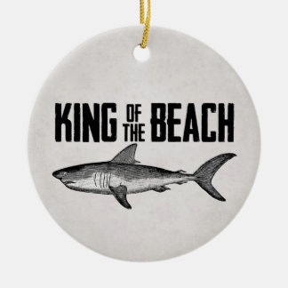Ornement Rond En Céramique Roi vintage personnalisé de plage de requin