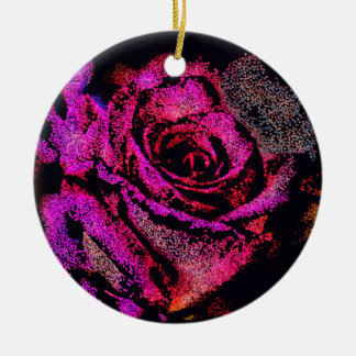 Ornement Rond En Céramique Rose de rose par Camille K