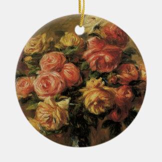 Ornement Rond En Céramique Roses dans un vase par Pierre Renoir, beaux-arts