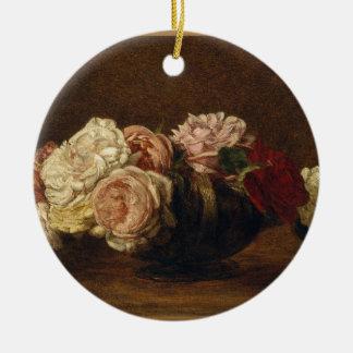 Ornement Rond En Céramique Roses dans une cuvette - Henri Fantin-Latour