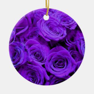 Ornement Rond En Céramique Roses pourpres