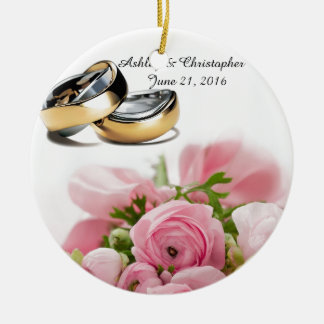 Ornement Rond En Céramique Roses roses