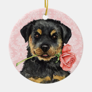 Ornement Rond En Céramique Rottweiler rose de Valentine