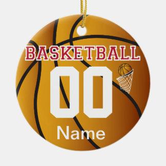 Ornement Rond En Céramique Rouge foncé personnalisez le basket-ball avec le