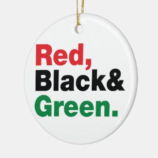 Ornement Rond En Céramique Rouge, noir et vert