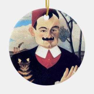 Ornement Rond En Céramique Rousseau - portrait d'homme de Pierre Loti avec le