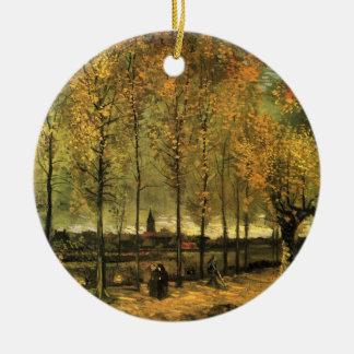 Ornement Rond En Céramique Ruelle de Van Gogh avec des peupliers, beaux-arts