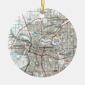Ornement Rond En Céramique Sacramento la Californie Map (1994)