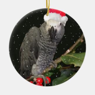 Ornement Rond En Céramique Saison des vacances de perroquet de gris africain