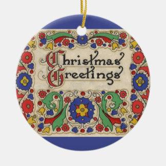Ornement Rond En Céramique Salutations vintages de Noël avec la frontière