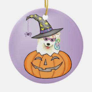 Ornement Rond En Céramique Samoyed de Halloween