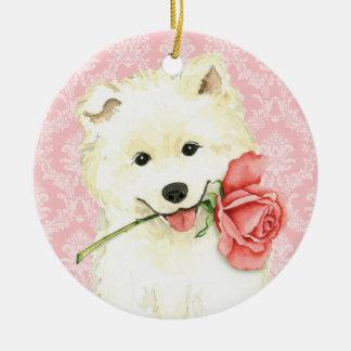 Ornement Rond En Céramique Samoyed rose de Valentine