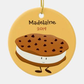 Ornement Rond En Céramique Sandwich mignon à biscuit avec l'ornement de nom