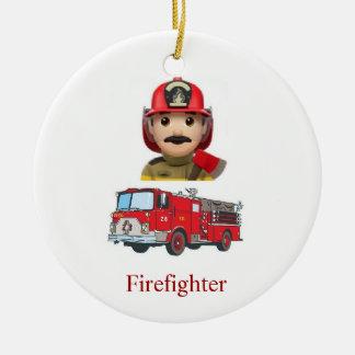 Ornement Rond En Céramique Sapeur-pompier