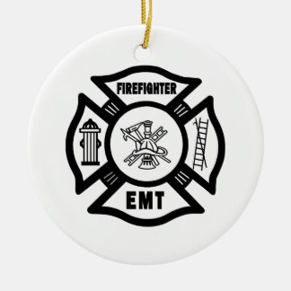 Ornement Rond En Céramique Sapeur-pompier EMT