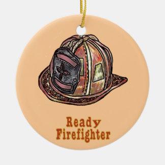 Ornement Rond En Céramique Sapeur-pompier prêt