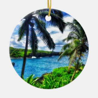 Ornement Rond En Céramique Scène du Hawaïen IMG_1122 4