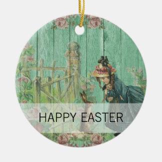 Ornement Rond En Céramique Scène rustique de lapin de Pâques peinte par cru