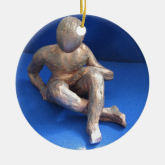 Ornement Rond En Céramique sculpture raku homme