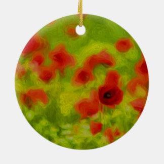 Ornement Rond En Céramique Sentiments d'été - le pavot merveilleux fleurit