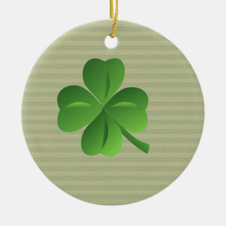 Ornement Rond En Céramique Shamrock chanceux irlandais à la mode chic
