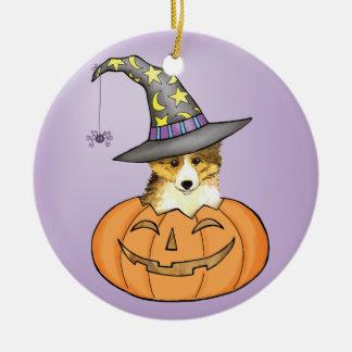 Ornement Rond En Céramique Sheltie Halloween