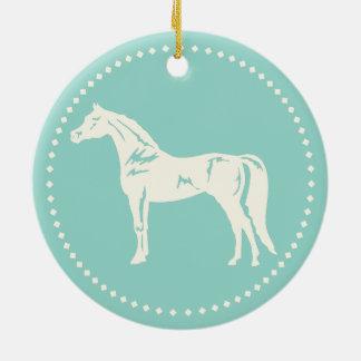 Ornement Rond En Céramique Silhouette Arabe de cheval