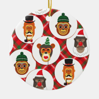 Ornement Rond En Céramique singes de hippie de Noël