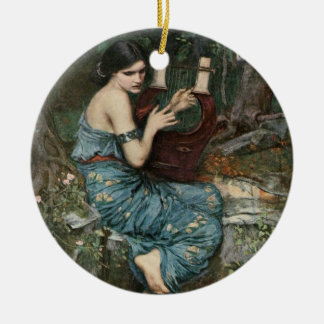Ornement Rond En Céramique Sirène jouant la musique pour des marins