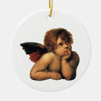 Ornement Rond En Céramique Sistine Madonna, détail d'anges par Raphael