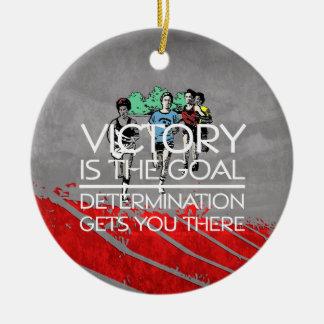 Ornement Rond En Céramique Slogan SUPÉRIEUR de victoire de voie