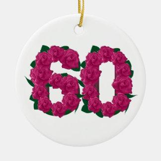 Ornement Rond En Céramique soixantième fleurs de rose d'anniversaire de