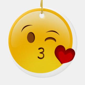 Ornement Rond En Céramique Soufflez Noël en céramique double face d'emoji de