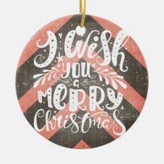 Ornement Rond En Céramique Souhait personnalisable vous Joyeux Noël