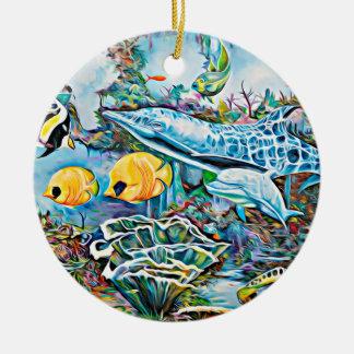 Ornement Rond En Céramique Sous l'ornement de Noël d'océan de créatures de