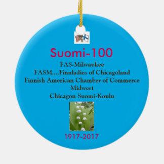 Ornement Rond En Céramique Souvenir 1917-2017 de Centennial de Suomi 100
