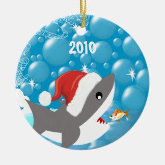 Ornement Rond En Céramique Souvenir de vacances d'ornement de Noël de requin