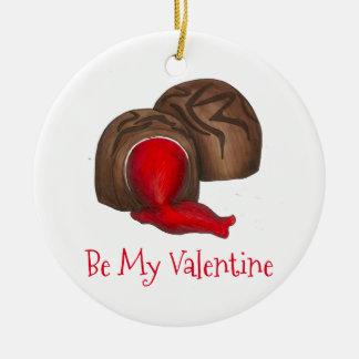 Ornement Rond En Céramique Soyez ma sucrerie de cordial de cerise de chocolat