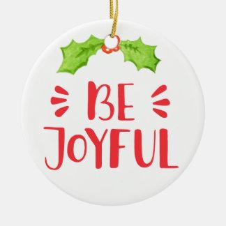 Ornement Rond En Céramique Soyez Noël joyeux de feuille de houx de  