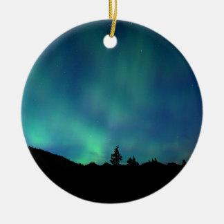 Ornement Rond En Céramique Special léger bleu, l'aurore Borealis