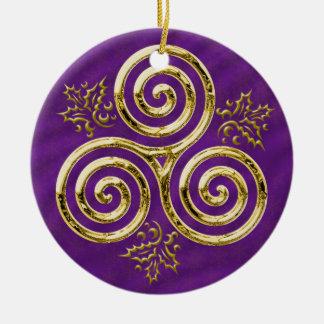 Ornement Rond En Céramique Spirale triple d'or avec le feuille de houx sur le