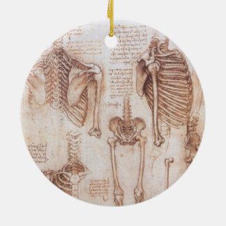 Ornement Rond En Céramique Squelettes humains d'anatomie par Leonardo da
