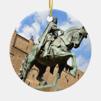 Ornement Rond En Céramique Statue équestre à Barcelone, Espagne
