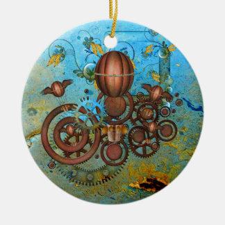 Ornement Rond En Céramique Steampunk embraye l'ornement d'en cuivre d'Aqua de