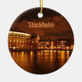 Ornement Rond En Céramique Stockholm, Suède la nuit